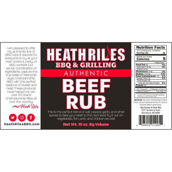 Beef Rub Shaker - Nutritional Facts / Label