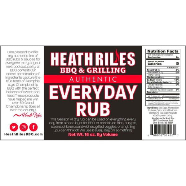 Everyday Rub Shaker - Nutritional Facts / Label