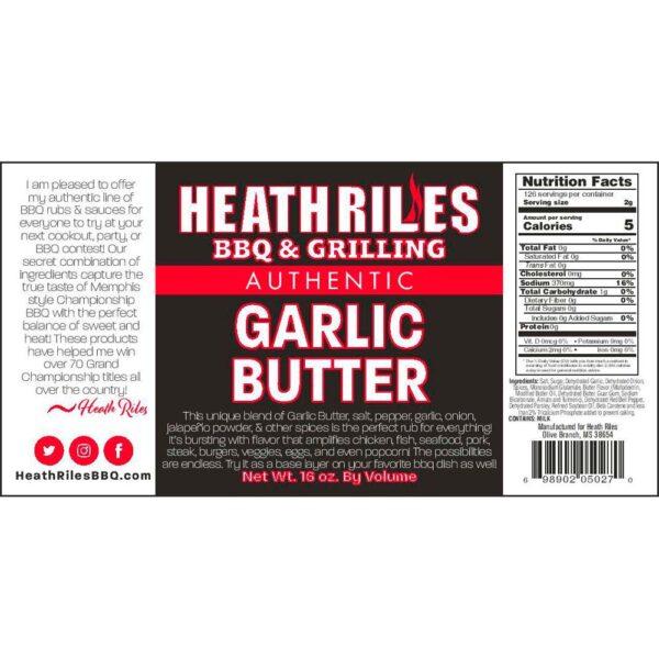 Garlic Butter Rub Shaker - Nutritional Facts / Label