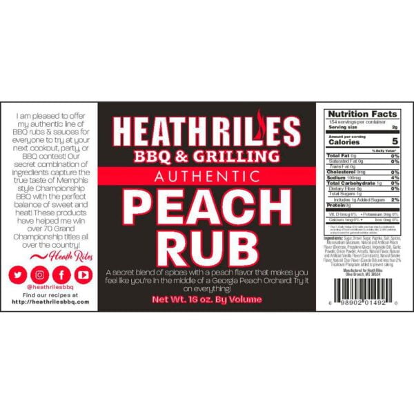 Peach Rub Shaker - Nutritional Facts / Label