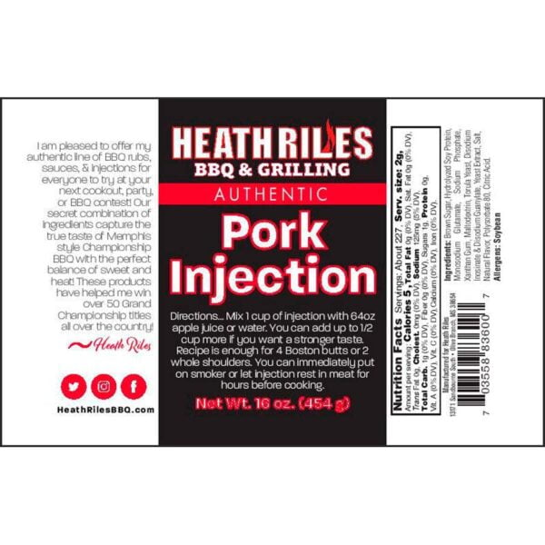 Pork Injection - Nutritional Facts / Label