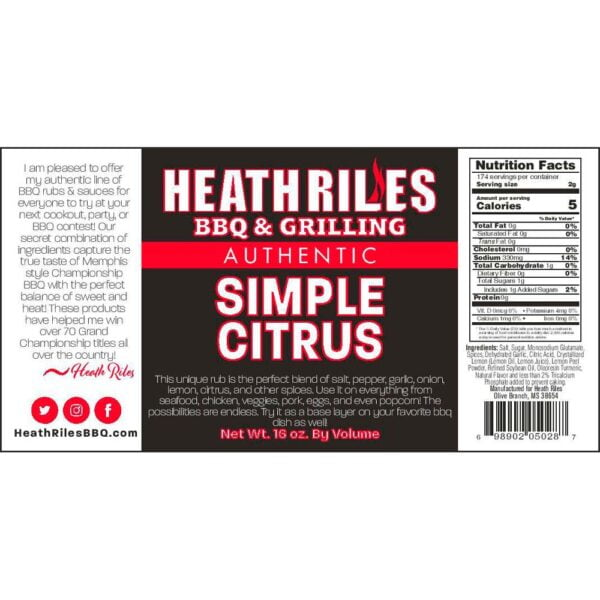 Simple Citrus Rub Shaker - Nutritional Facts / Label
